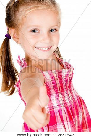 little girl with thumbs