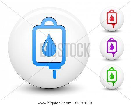 IV bloed Drip pictogram op ronde witte knop verzameling originele illustratie