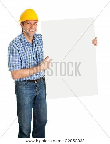 Confident worker presenting empty board