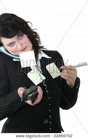 Female Office Clerk Multi Tasking