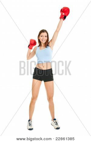 Beautiful woman practicing boxing