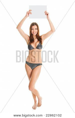 Sexy girl in bikini making an announcent