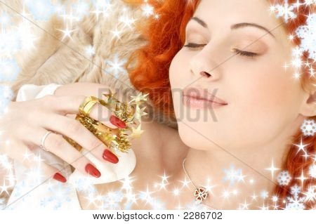 Dreaming Redhead With White Christmas Bells Snowflakes
