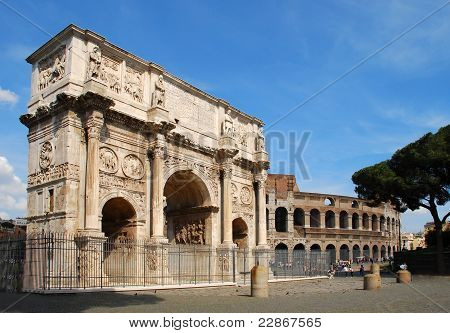The Arch Of Constantine And The Colosseo