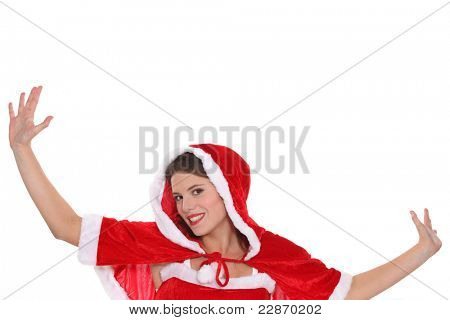 Young woman dressed in a cute Christmas outfit