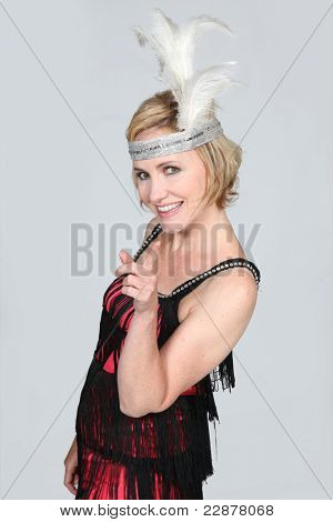 Woman wearing cabaret costume
