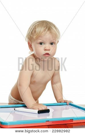 Little Boy With Draw Desk