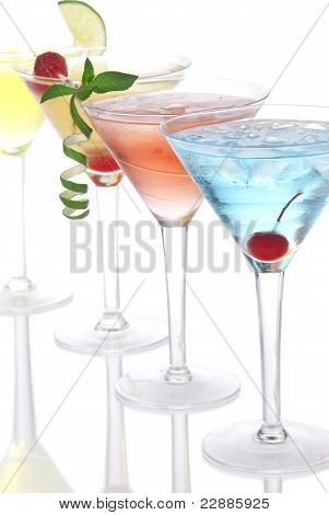 Martini Alcohol Cocktails In Row Blue Hawaiia