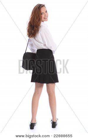 Cute Smile Teenage Student Girl In School Uniform