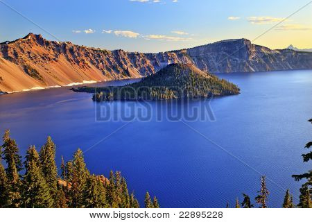 Crater Lake Reflection Blue Lake Morning Oregon