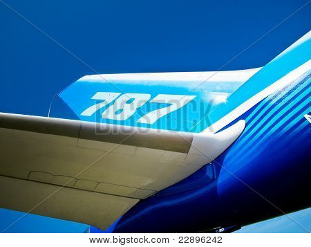 Tail And Wing Of 787 Boeing Dreamliner
