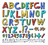 Fonts Hand Drawn Elements, Alphabet In Different Color With Numbers And Symbols Below, Objects Vecto poster