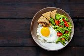 Healthy Vegetarian Breakfast Flat-lay. Breakfast Plate - Cracker, Arugula, Cherry Tomatoes And Fried poster