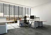 Modern open plan office with large windows and multi seat workstations around table style desks. 3d  poster