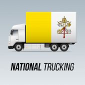 Symbol Of National Delivery Truck With Flag Of Vatican City. National Trucking Icon And Flag Design poster