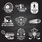 Set Of Golf Club, Tennis Club Concept With Golfer And Tennis Player Silhouette. Vector Golfing And T poster
