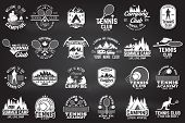 Set Of Tennis And Camping Club Badge. Vector Illustration On The Chalkboard. Concept For Shirt, Prin poster