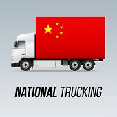 Symbol Of National Delivery Truck With Flag Of China. National Trucking Icon And Chinese Flag poster