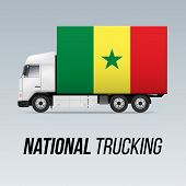 Symbol Of National Delivery Truck With Flag Of Senegal. National Trucking Icon And Senegalese Flag poster