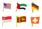 Country Flag Icon Set. Cartoon Set Of Country Flag Vector Icons For Web Design Isolated On White Bac poster