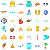 Sea Aqua Icons Set. Cartoon Set Of 36 Sea Aqua Vector Icons For Web Isolated On White Background poster