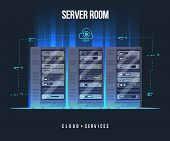 Data Center And Server Room. Data Storage And Exchange Service Flat Illustration. Cloud Service Equi poster