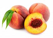 Group Of Peaches With Half And Green Leaves Isolated On White Background With Clipping Path poster