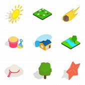 Sunshine Icons Set. Isometric Set Of 9 Sunshine Vector Icons For Web Isolated On White Background poster
