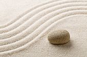 Zen Sand And Stone Garden With Raked Curved Lines With Selective Focus. Simplicity, Concentration Or poster