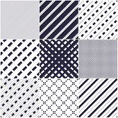 Minimal Lines Vector Seamless Patterns Set, Abstract Backgrounds Collection. Simple Geometric Design poster