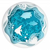 Paper Underwater Sea Cave With Fishes, Coral Reef, Seabed In Algae, Bubbles And Waves. Paper Cut Dee poster