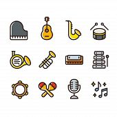 Musical Instruments Icon Set. Simple Cartoon Style Colored Line Icons. Brass Wind Instruments, Strin poster