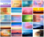 Big Set Of 20 Horizontal Wide Blurred Nature Backgrounds. With Various Quotes. Sunset And Sunrise Se poster