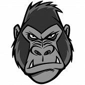 Gorilla Head Illustration - A Vector Cartoon Illustration Of A Gorilla Head Mascot. poster