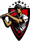picture of fastpitch  - Baseball Design Template of a Baseball Hitter Swinging Bat - JPG