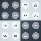 Car Icons Line Style Set With Truck, Automobile, Prime-mover And Other Sedan Elements. Isolated  Ill poster