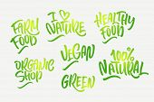 Lettering Set For Natural Products In Green Colors. Handwritten Logo I Love Nature, Organic Shop, Fa poster