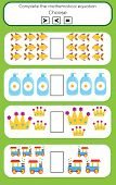 Mathematics Educational Game For Children. Learning Counting And Algebra Kids Activity. Complete The poster