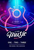 Live Music Party Design Template With Text, Guitar Silhouette And Speed Movement Lights. Use For Fly poster