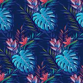 Seamless Tropical Pattern With Palms, Monstera Leaves, Hibiskus, Other Tropic Flowers And Geometry R poster