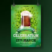 Saint Patricks Day Party Flyer Illustration With Fresh Dark Beer And Clover On Green Background. Ve poster