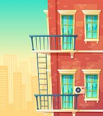 Vector Cartoon Illustration Of House Facade Element, Multistoried Building, City Apartments, Outside poster
