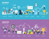 Flat Design Style Web Banners Of Business Process And Creative Process. Vector Illustration Concepts poster