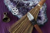 image of pentacle  - close up of wiccan objects  - JPG