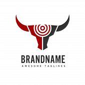 Bull Head Target Vector Logo Concept Illustration, Buffalo Head Target Logo, Bull Hunter Logo. Bull  poster