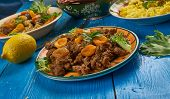 Kalahari Mince Curry, South African Cuisine , Traditional Assorted Dishes, Top View. poster