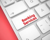 Online Service Concept: Banking Services On The Metallic Keyboard Background. Conceptual Keyboard Bu poster