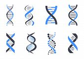 Dna Helix Patterns Colorful Vector Illustration Isolated On White Backdrop, Blue And Black Coiled Ar poster