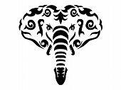 Tribal Elephant Illustration, African Elephant In Tribal Style, Ornamental White Line Elephant poster
