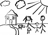 stock photo of cartoon people  - A childlike drawing of a happy family in front of their house with a dog - JPG